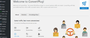 The Welcome page in ConvertPlug