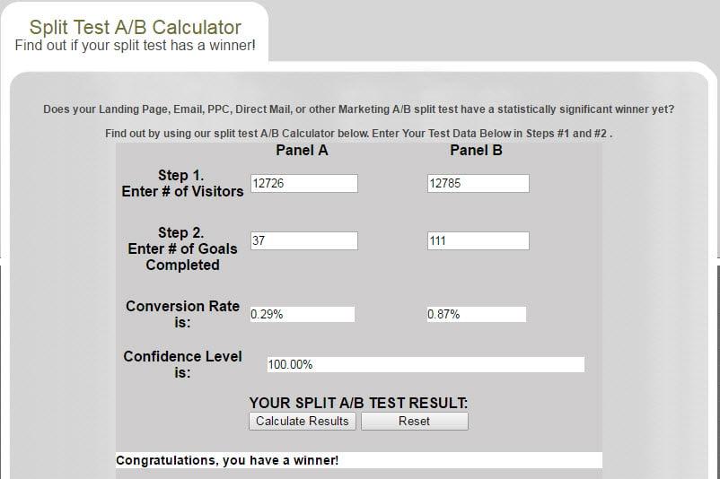 Split test calculator results